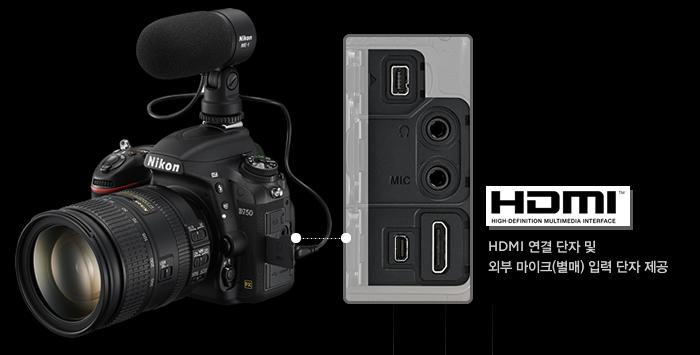HDMI 연결 단자 및 외부 마이크(별매) 입력 단자 제공