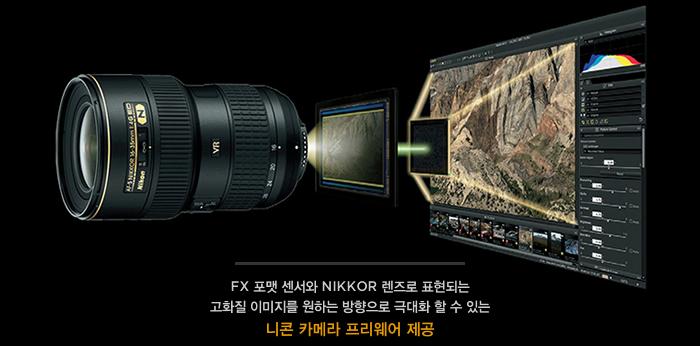 FX 포맷 센서와 NIKKOR 렌즈로 표현되는 고화질 이미지를 원하는 방향으로 극대화 할 수 있는 니콘 카메라 프리웨어 제공